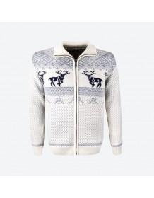 KAMA svetr s jeleny 4048 - šedý